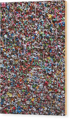 Wall Of Chewing Gum Seattle Wood Print by Garry Gay