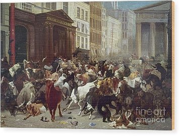 Wall Street: Bears & Bulls Wood Print by Granger