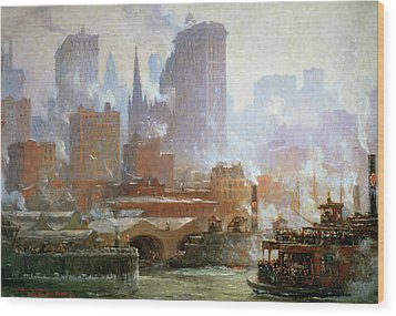 Wall Street Ferry Ship Wood Print by Colin Campbell Cooper