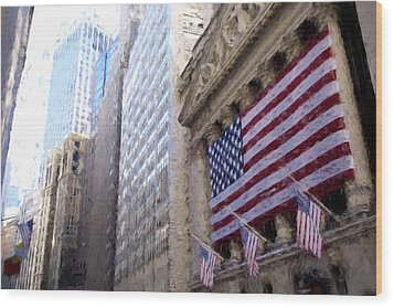 Wall Street, Nyc Wood Print by Matthew Ashton