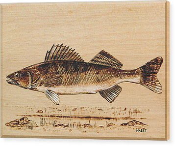 Walleye Wood Print by Ron Haist