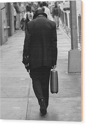 Wood Print featuring the photograph Wall Street Man by Dave Beckerman
