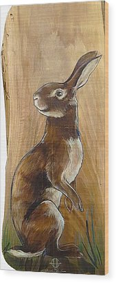 Walnutty Bunny Wood Print by Jacque Hudson