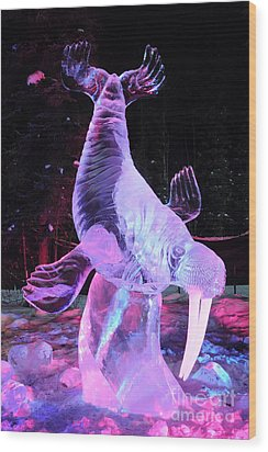 Walrus Ice Art Sculpture - Alaska Wood Print by Gary Whitton