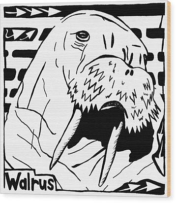 Walrus Maze Wood Print by Yonatan Frimer Maze Artist