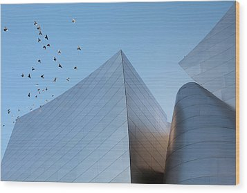 Wood Print featuring the photograph Walt Disney Concert Hall Los Angeles California Architecture Abstract by Ram Vasudev