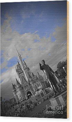 Walt Disney World - Partners Statue Wood Print by AK Photography