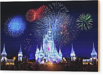 Walt Disney World Fireworks  Wood Print