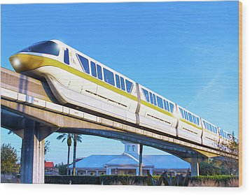 Wood Print featuring the photograph Walt Disney World Monorail by Mark Andrew Thomas