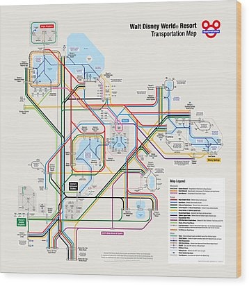 Walt Disney World Resort Transportation Map Wood Print by Arthur De Wolf
