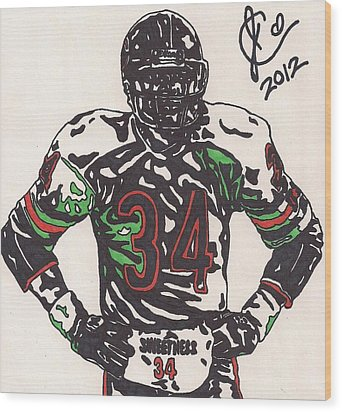 Walter Payton Wood Print by Jeremiah Colley