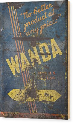 Wanda Motor Oil Vintage Sign Wood Print by Christina Lihani