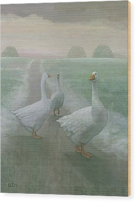 Wandering Geese Wood Print by Steve Mitchell