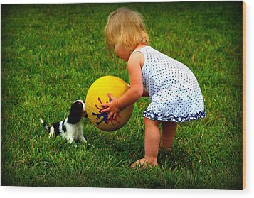 Wanna Play Ball Wood Print