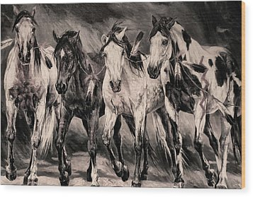 War Horses Wood Print by Dennis Baswell