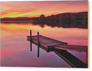 Waramaug Sunset Wood Print by Thomas Schoeller
