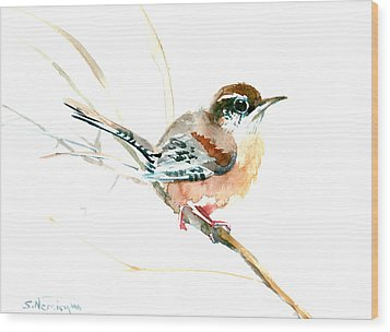 Warbler Songbird Art  Wood Print by Suren Nersisyan