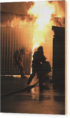 Warehouse Fire Wood Print by Cary Ulrich