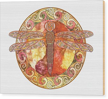 Wood Print featuring the mixed media Warm Celtic Dragonfly by Kristen Fox