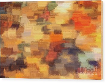 Warm Colors Under Glass - Abstract Art Wood Print by Carol Groenen
