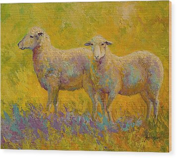 Warm Glow - Sheep Pair Wood Print