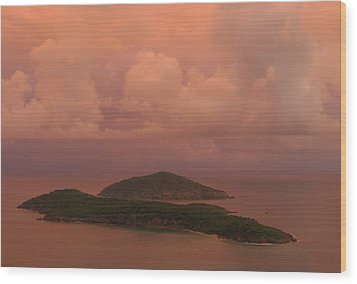 Wood Print featuring the photograph Warm Sunset Palette Of Inner And Outer Brass Islands From St. Thomas by Jetson Nguyen