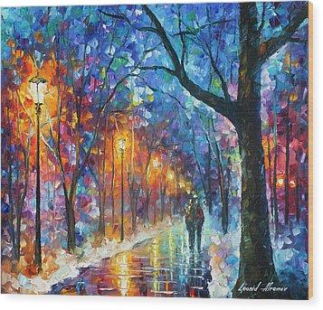 Warmed By Love Wood Print by Leonid Afremov