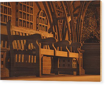 Warmth Of A London Bench Wood Print by Mike McGlothlen