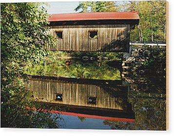 Warner Covered Bridge Wood Print by Greg Fortier