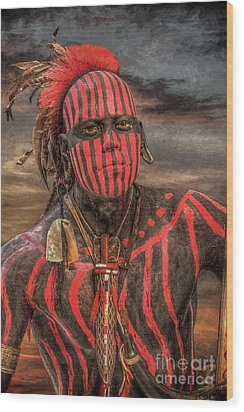 Warpath Shawnee Indian Wood Print by Randy Steele