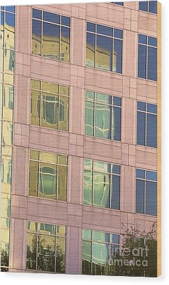 Wood Print featuring the photograph Warped Window Reflectionss by Linda Phelps