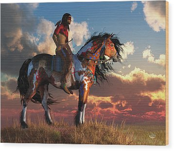 Warrior And War Horse Wood Print