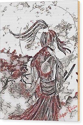 Warrior Moon Anime Wood Print by Vennie Kocsis