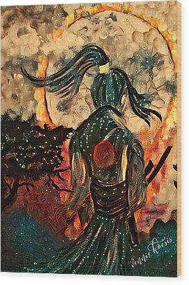 Warrior Moon Wood Print by Vennie Kocsis
