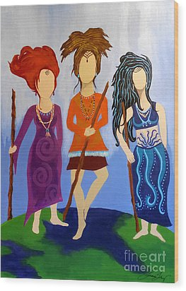 Warrior Woman Sisterhood Wood Print by Jean Fry