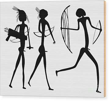Warriors - Primitive Art Wood Print by Michal Boubin