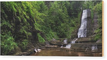 Wood Print featuring the photograph Warsaw Falls by Mark Papke