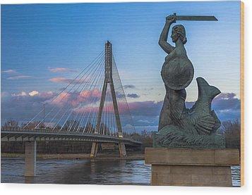 Warsaw Mermaid And Swiatokrzyski Bridge On Vistula Wood Print by Julis Simo