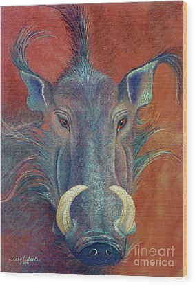 Warthog Defiance Wood Print by Tracy L Teeter