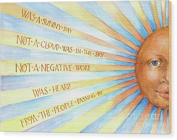 Wood Print featuring the painting Was A Sunny Day by Lora Serra