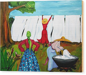 Wood Print featuring the painting Wash Day by Diane Britton Dunham