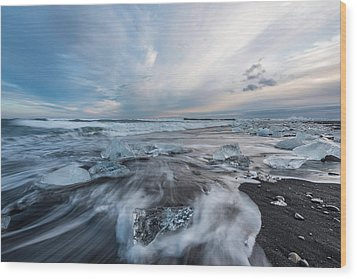 Washed Up Ice Sunset Wood Print
