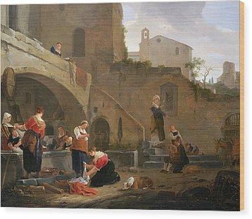 Washerwomen By A Roman Fountain Wood Print by Thomas Wyck