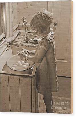 Washing Eggs Sepia Wood Print by Padre Art
