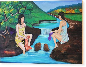 Washing In The River Wood Print by Cyril Maza