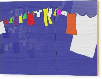 Wood Print featuring the digital art Washing Line by Barbara Moignard