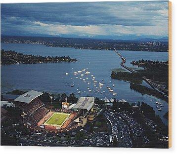 Washington Aerial View Of Husky Stadium Wood Print by Jay Drowns