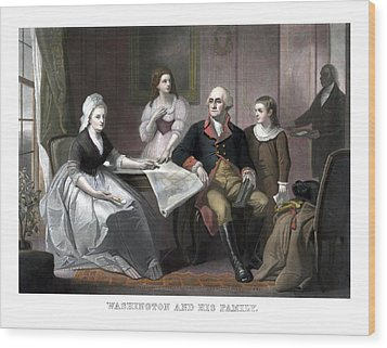 Washington And His Family Wood Print by War Is Hell Store