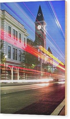 Washington County Courthouse At Night Fayetteville Arkansas Wood Print