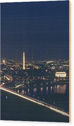 Washington D.c. At Night, Seen Wood Print by Kenneth Garrett